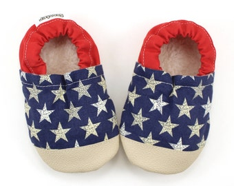 patriotic baby shoes stars and stripes booties for baby 4th of july baby clothing red white and blue baby rubber sole shoes americana baby
