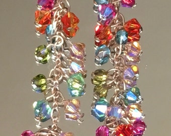 Multicolored Crystal Dangle Earrings with Antique Yellow Glass Drop