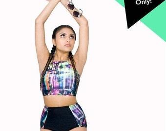 Bikini Crop Top Halter Swimsuit Top Cropped Yoga Tops Digital Print Swimwear