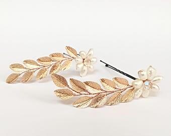 Wedding Hair Accessories x2, Wedding Hair Piece Bridal Hair Piece Rose Gold, Wedding Hair Pins Set, Hair Pins Wedding, Rose Gold Hair Piece