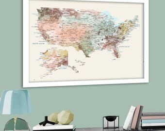 Detailed USA Map With Cities And States Labels US Map Print - Map of the us with labels