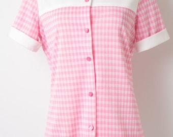 Mod Top, Vintage Top, 60s Top, Mad Men Top, Vintage Pink Top, Pink Gingham Top, Vintage Gingham Top, 60s Knit Top, 60s Pink Top  - M