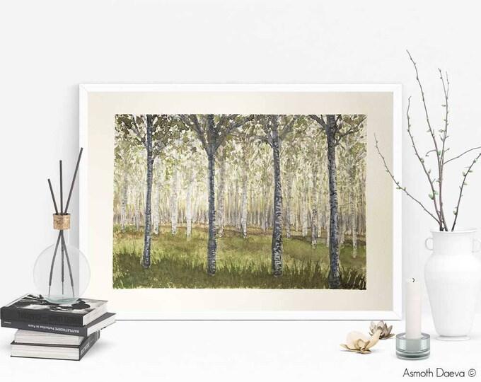 "Birch Woodland Painting - Watercolour 9"" x 12"""