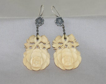 Carved Floral Chinese Sterling Earrings