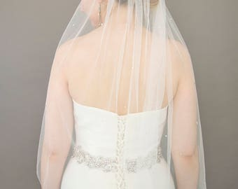 Couture bridal, sparkly wedding veil in soft tulle, rhinestone veil, Faye