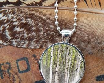 Birch Tree Pendant, Birch Tree Necklace, Fall Pendant, Autumn Pendant, Nature Jewelry, Forest Necklace