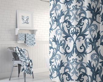 Shower, Curtain Vintage, Navy Blue, Damask, Shower Curtains, Bathroom Decor,  Bathroom Set, Bath Towels, Bath Towel, Bath Mat