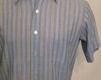 Vintage MENS 60s Carson Pirie Scott yellow, blue & white striped short sleeve shirt