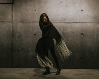 Icelandic Wool Shawl SKUGGI with Handmade Merino Wool Fringe
