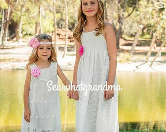 Off White Flower Girl Dress, Floral Lace Girl, Baptism Girl Dress, Beach Flower Girl, Cowgirl, Country Bridesmaids - Size 2T-8T