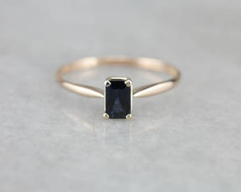 Midnight Blue Sapphire Solitaire Ring, Simple Sapphire Ring, Engagement Ring H60T84-N