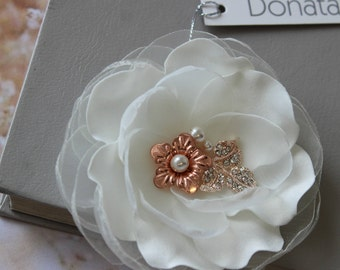 Rose gold Wedding hair piece  ,Wedding Hair flower, Bridal Ivory Flower Hair Clip, Wedding hair piece,  Bridal hair flower, Bridal Headpiece