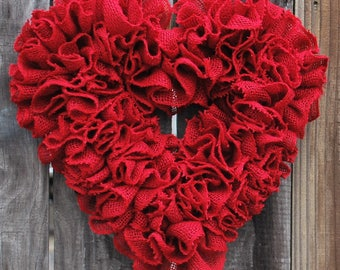 Burlap Heart Wreath, Valentines Wreath, Valentines Day Decor, Gift for Her, Rustic Valentines Decor, Burlap Ruffle Wreath Heart, Farmhouse