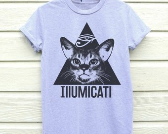 Illumicati Tshirt, Cat T-shirt, Available In 3 Colours, Sizes S, M, L And XL