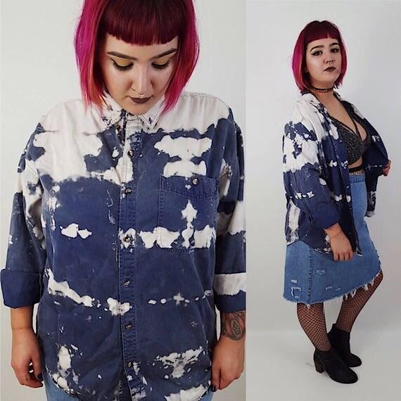 90's Blue White Bleached Denim Button Up  - Unisex Tie Dye Bleach Oxford - Blue Jean Tiedye Large XL Men Womens Long Sleeve Vintage Shirt