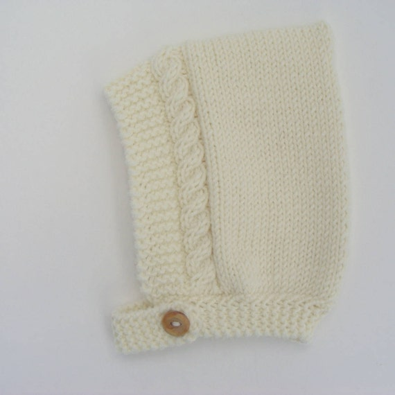 Merino Wool Cable Knit Baby Pixie Hat in Cream