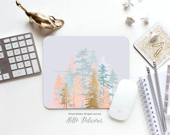 Mousepad Blush Forest Mousepad Forest Trees Mouse Mat Blush Mouse Pad Office Mousemat Rectangular Mousemat Nature Mousepad Round I41
