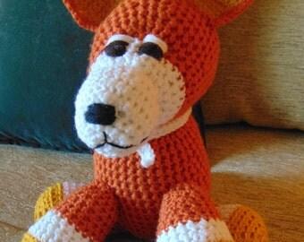 "Crocheted  Corgi puppy dog stuffed animal doll toy  ""Jake"""