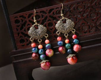 BE012 Antique Vintage Style Boho-Chic Multi Colored Beads Gemstone Long Dangle Hook Earrings