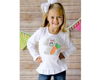 Girls Easter Bunny Ruffle Sleeve Shirt in Various Sizes - Easter Bunny with Carrot Applique Embroidery - Great for Easter Egg Hunt or Party