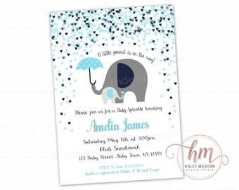 Elephant Baby Shower Invitation, Baby Sprinkle, Little Elephants Invitation, blue Elephants baby shower PRINTABLE FILE