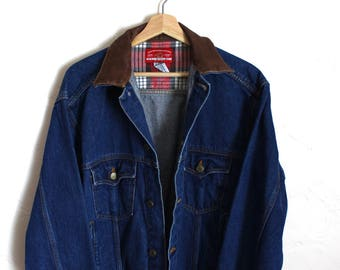 90s Vintage Marlboro Country Store Denim Jacket Vintage Jean Jacket Leather Collar Flannel Lining Adult Size Small