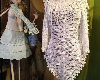 Handmade poncho you from 38 to 46 white crochet
