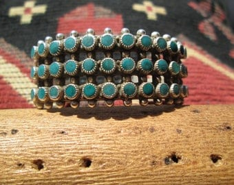 Petit Point Turquoise (Snake Eyes) and Sterling Silver Cuff Bracelet