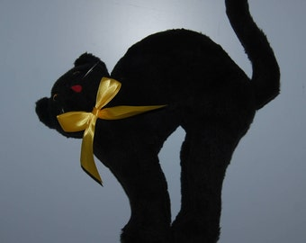 80s Russ Berrie Black Cat Halloween plush doll 17 inches tall 1980s standing stuffed cat toy USA made yellow bow classic bad luck kitty
