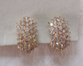 Suzanne Somers CZ and Gold Tone Clip Earrings.  (780)