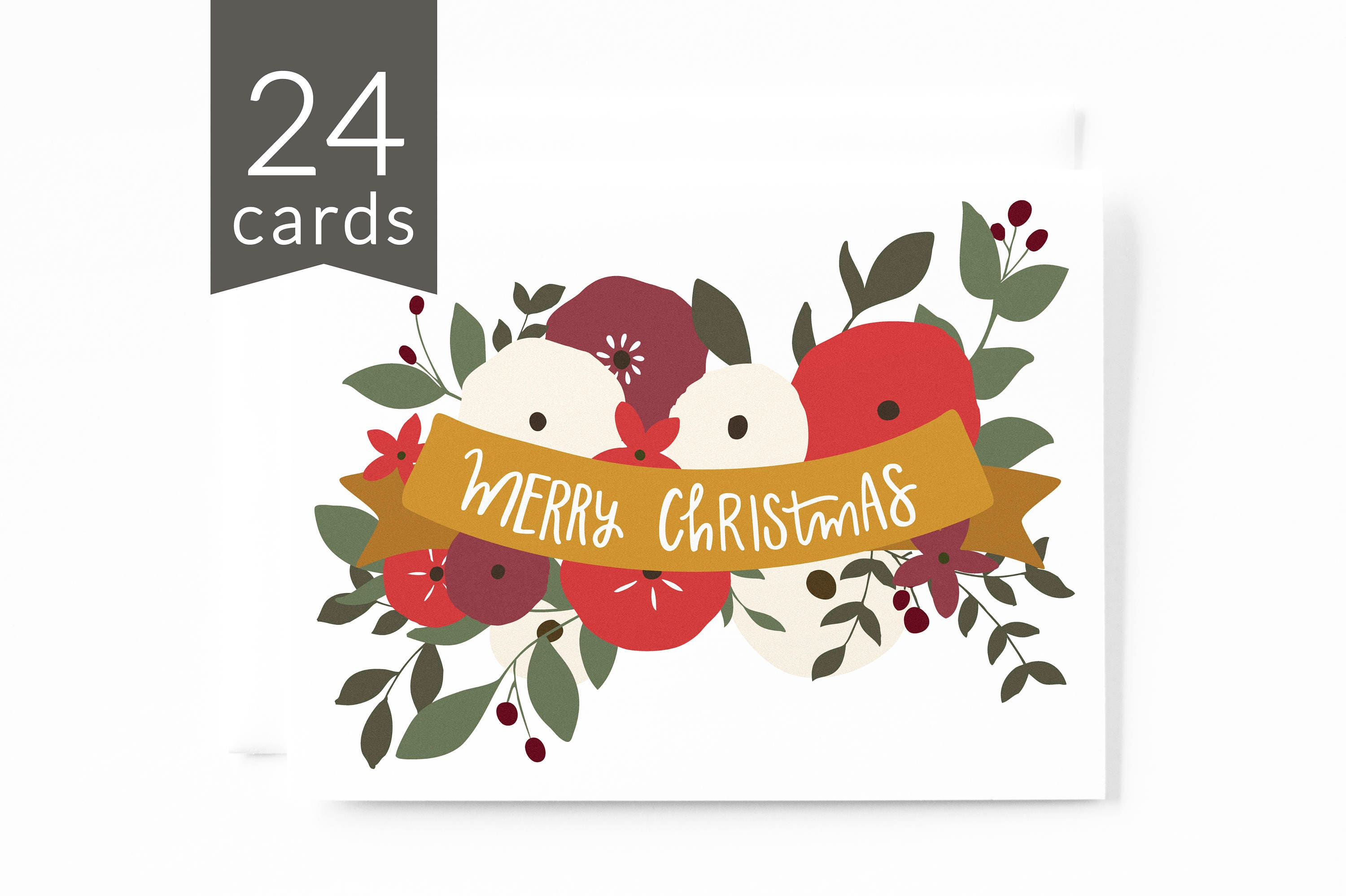 Christmas Card Set Of 24 Merry Christmas Illustrated Floral