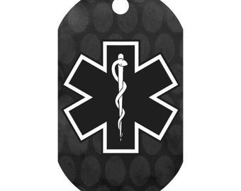 Custom Medical Alert Necklace in Black Circles | Medic Tag | Medical Alert ID | Medical Alert Jewelry | Front and Back Included