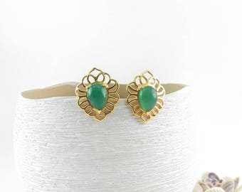 Chunky Stud Earrings Big Post Earrings Green Onyx Gemstone Statement Earrings Green and Gold Stud Earrings Large Earrings