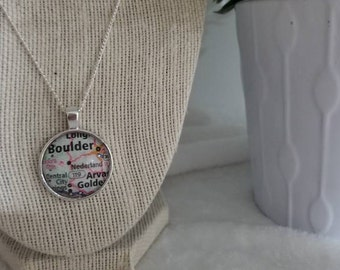 Boulder Colorado Map bezel necklace/Gift For Mom, Gift for her/Gift for him/geography/travel/vintage jewelry/pendant necklace/custom jewelry