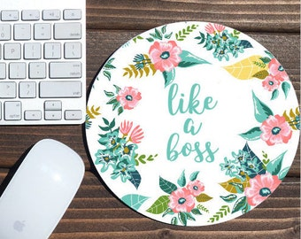 like a boss / mouse pad / desk accessories / mousepad / desk decor office decor / floral mouse pad / dorm decor / floral mousepad girl boss
