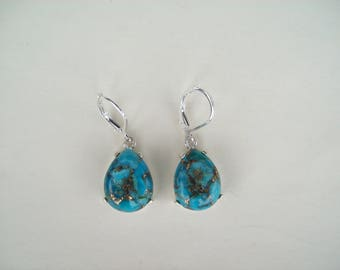 Genuine Copper Turquoise Pear Earrings in 925 Sterling Silver 16x12mm