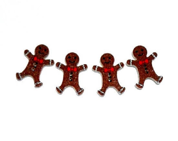 4 x 25MM Gingerbread Men wooden buttons