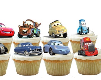 24 Cars Cupcake Toppers