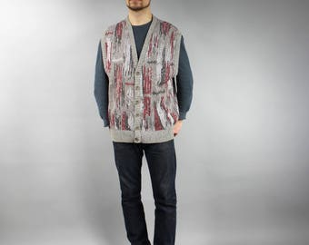 COOGI Style 80s Men's Brown Knitted Vest, Vintage Button Down Lightweight Patterned Pullover, Boyfriend Gift, Hipster Outfit . Size Large