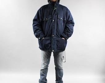 Plus Size Deep Blue UNISEX Parka Hooded Jacket . 90s Vintage Mens Oversized Parka Coat Zip Up Hipster Puffer Jacket Outerwear . Extra Large