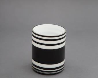 Black and White Striped Glass Planter Pot