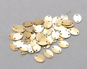 10Pcs, 12mm Raw Brass Charms Connectors ZR-7472