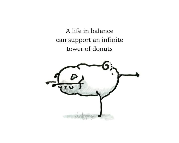 Life in Balance pug poetry funny pug card pug yoga print