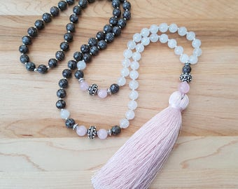 Brown Snowflake Obsidian, White Agate and Rose Quartz Pink Silk Tassel Necklace / Beaded Necklace /  Tassel Necklace / Gemstone Necklace