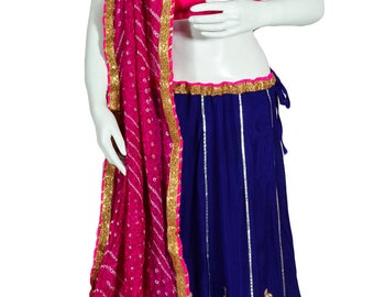 Blue Crepe Silk Lehanga with Gota Patti work and Pink border, Pink Bandhini Dupatta and Pink Blouse