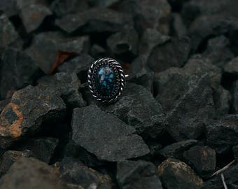 Natural Oval Cloud Mounain Turquoise Oxidized Ring in Sterling Silver Size 8.5