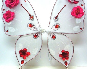Adult Child Wings, ROSETTA TINKERBELL Wings, RED Fairy Wings, Jeweled Wings, Costume Wings, Queen of Hearts Wings