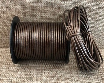 1.5mm Round Leather Cord - Brown Metallic - Choose 1 Yard to 25 Yards - 1.5mm Brown Metallic Round Leather Cord Made In India - LCR2-2004