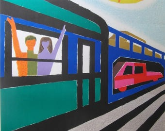Original 1967 Guy Georget, Small Format French National Railways Poster 'Trains Autos Couchettes'