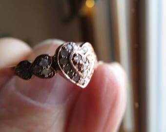 Handcrafted Natural .50cttw Diamond 14K Rose Gold/Sterling Silver 925 Ring Size 8,  Wt. 1.7 G